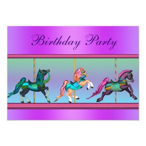 """Fiesta de cumpleaños rosada y púrpura del potro invitación 5"""" x 7"""""""