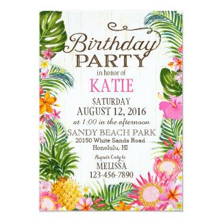 """Fiesta de cumpleaños rústica de la playa de Luau Invitación 5"""" X 7"""""""