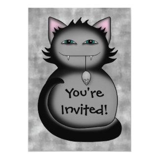 Fiesta de cumpleaños sombría del gato del gatito invitación 12,7 x 17,8 cm