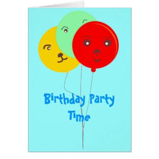 Fiesta de cumpleaños sonriente de los globos brill tarjeta pequeña