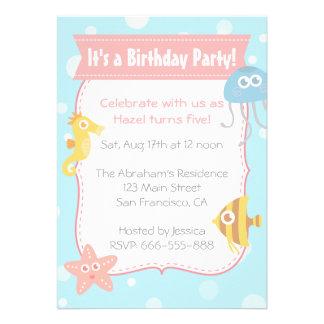Fiesta de cumpleaños subacuática linda de los anim comunicado personal