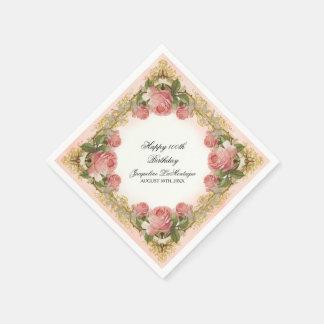 Fiesta de cumpleaños subió vintage parisiense de servilleta de papel