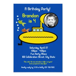 """Fiesta de cumpleaños submarina con la foto invitación 5"""" x 7"""""""