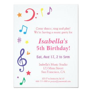 """Fiesta de cumpleaños temática de la música invitación 4.25"""" x 5.5"""""""