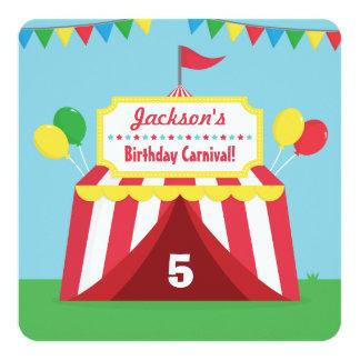 """Fiesta de cumpleaños temática de los niños del invitación 5.25"""" x 5.25"""""""