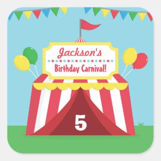 Fiesta de cumpleaños temática de los niños del pegatina cuadrada