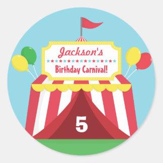 Fiesta de cumpleaños temática de los niños del pegatina redonda