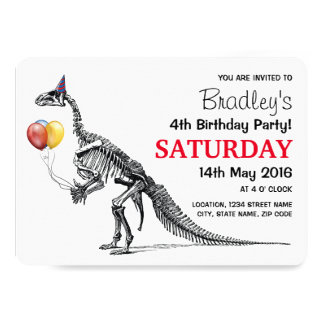 """Fiesta de cumpleaños temática del dinosaurio invitación 5"""" x 7"""""""