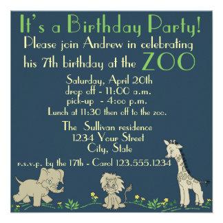 Fiesta de cumpleaños temática del parque zoológico comunicados