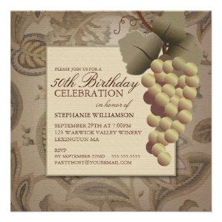 Fiesta de cumpleaños temática del vino de las uvas comunicados personalizados