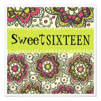Fiesta de cumpleaños totalmente retra del dulce 16 invitación personalizada