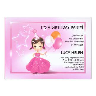 """Fiesta de cumpleaños triguena de princesa Children Invitación 5"""" X 7"""""""