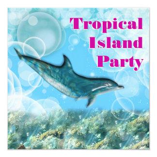 """Fiesta de cumpleaños tropical de la isla de la invitación 5.25"""" x 5.25"""""""