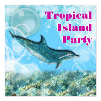 Fiesta de cumpleaños tropical de la isla de la pla invitación personalizada
