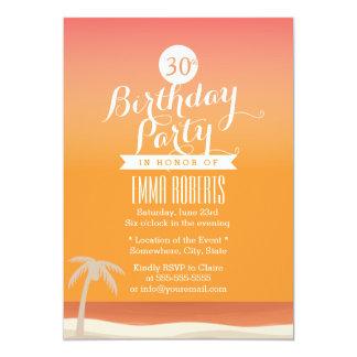 """Fiesta de cumpleaños tropical del tema de la playa invitación 5"""" x 7"""""""