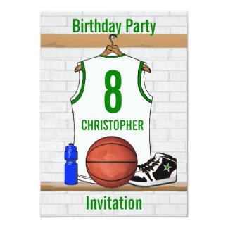 """Fiesta de cumpleaños verde blanca del jersey del invitación 5"""" x 7"""""""