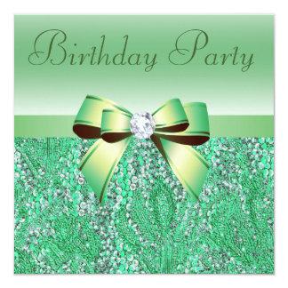 Fiesta de cumpleaños verde de las lentejuelas, del invitación 13,3 cm x 13,3cm