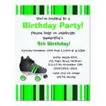 Fiesta de cumpleaños verde del patín de ruedas - comunicados personalizados
