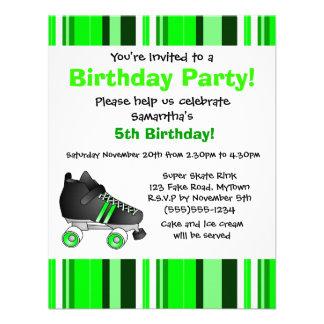 Fiesta de cumpleaños verde del patín de ruedas - r comunicados personalizados