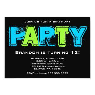 Fiesta de cumpleaños verde y azul del Grunge Invitación 12,7 X 17,8 Cm
