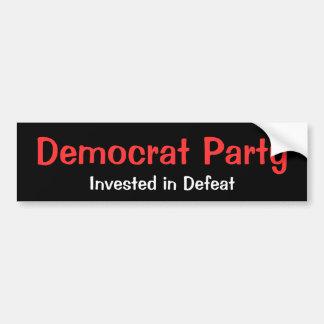 Fiesta de Demócrata, invertido en derrota Etiqueta De Parachoque