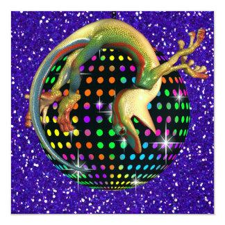 """Fiesta de disco del Gecko - SRF Invitación 5.25"""" X 5.25"""""""