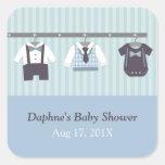 Fiesta de ducha moderno del bebé del caballero pegatina cuadrada