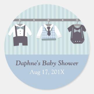 Fiesta de ducha moderno del bebé del caballero pegatina redonda