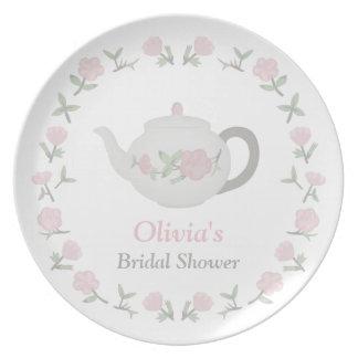 Fiesta de ducha nupcial de la fiesta del té floral plato