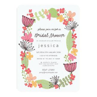 Fiesta de ducha nupcial de la frontera floral invitación 11,4 x 15,8 cm