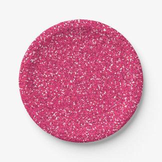 Fiesta de encargo de la imagen rosada del brillo plato de papel de 7 pulgadas
