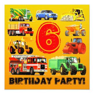 """Fiesta de encargo del camión de la construcción invitación 5.25"""" x 5.25"""""""