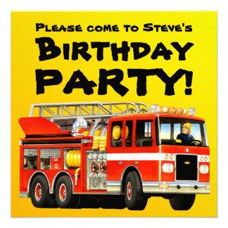 Fiesta de encargo del coche de bomberos invitacion personalizada