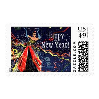 Fiesta de Eve de las Felices Año Nuevo del vintage Timbres Postales