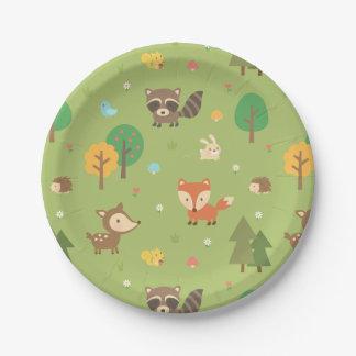 Fiesta de fiesta de bienvenida al bebé animal del plato de papel de 7 pulgadas