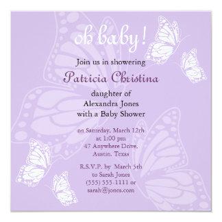 """Fiesta de fiesta de bienvenida al bebé púrpura de invitación 5.25"""" x 5.25"""""""