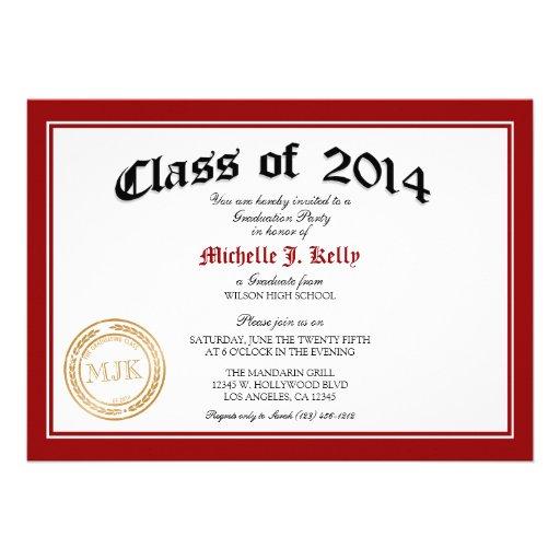 Fiesta de graduación 2014 del diploma invitación personalizada