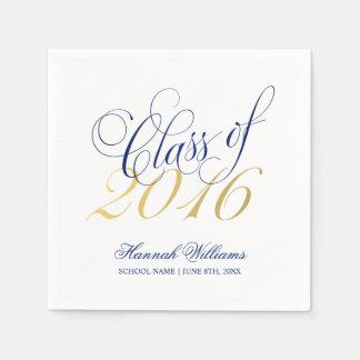 Fiesta de graduación 2016 del oro de los azules servilleta desechable
