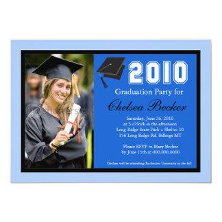 """Fiesta de graduación 5x7 Bleu y foto negra Invitación 5"""" X 7"""""""