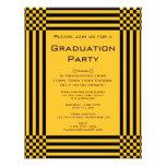 Fiesta de graduación amarilla negra de las rayas d comunicados personales