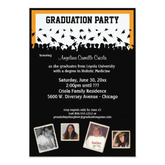 """Fiesta de graduación anaranjada y negra de la invitación 5"""" x 7"""""""