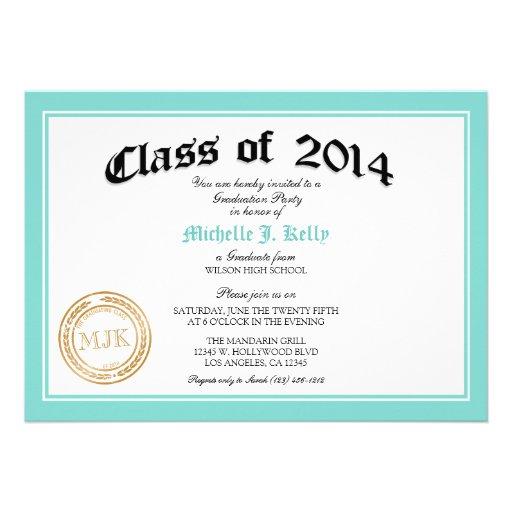 Fiesta de graduación azul 2014 del diploma del tru invitación
