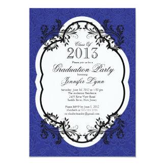Fiesta de graduación azul elegante del damasco del comunicado personalizado