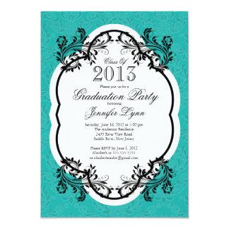 Fiesta de graduación azul elegante del damasco del invitaciones personalizada