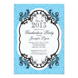 Fiesta de graduación azul elegante del damasco del invitacion personalizada