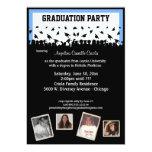 Fiesta de graduación azul y negra de la silueta invitación 12,7 x 17,8 cm