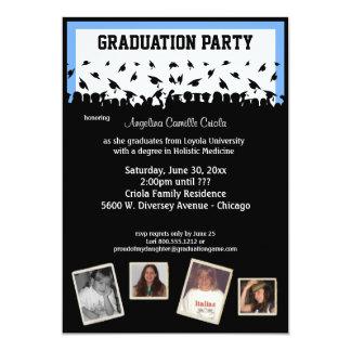 Fiesta de graduación azul y negra de la silueta