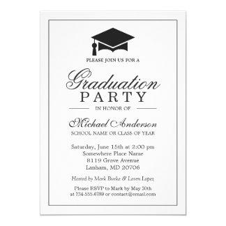 """Fiesta de graduación blanca negra clásica elegante invitación 5"""" x 7"""""""