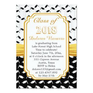 """Fiesta de graduación blanca negra del casquillo invitación 4.5"""" x 6.25"""""""