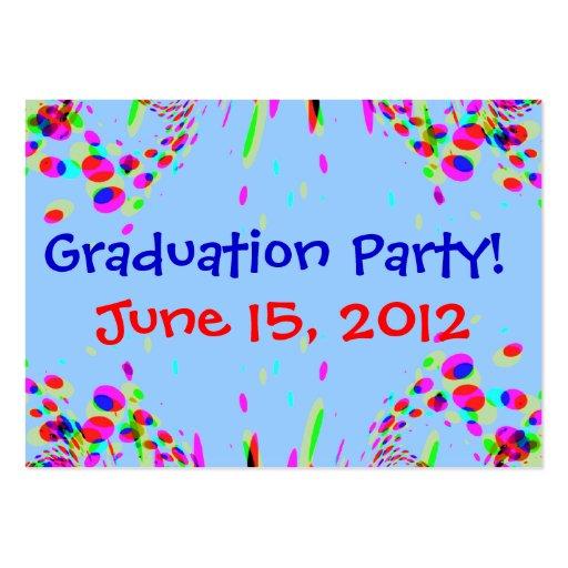 ¡Fiesta de graduación colorida de la diversión! Tarjetas De Visita Grandes
